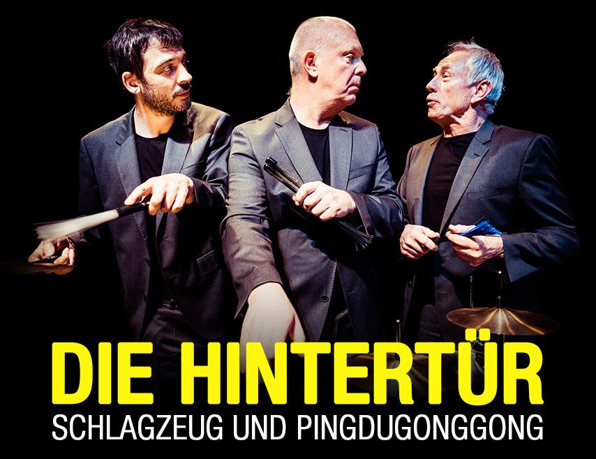 Die Hintertür - Fritz Hauser, Rob Kloet (NITS) und Peter Conradin Zumthor schauen über die Trommelränder hinaus. - Die Hintertür